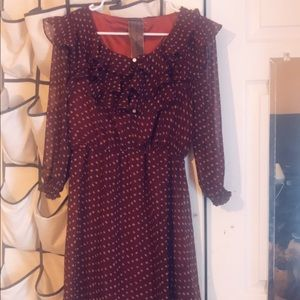 Red and tan ruffle boutique dress